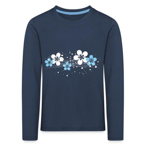 white and blue floral print - Koszulka dziecięca Premium z długim rękawem