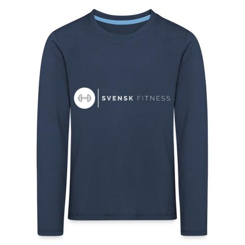 Linne med vit vertikal logo - Långärmad premium-T-shirt barn