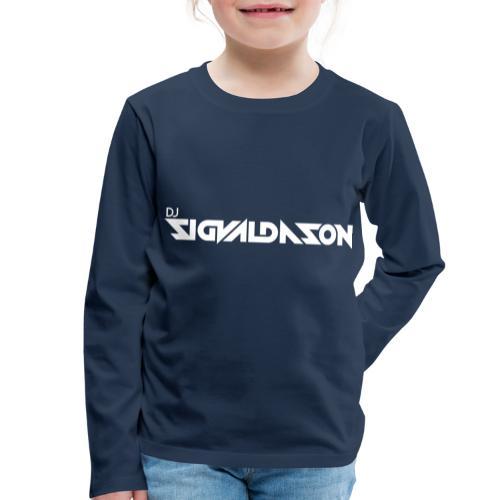DJ logo hvid - Børne premium T-shirt med lange ærmer