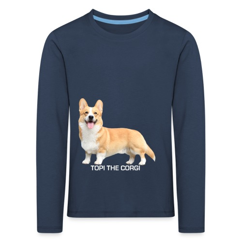 Topi the Corgi - White text - Kids' Premium Longsleeve Shirt
