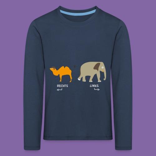 Rechts Links Lernen mit Kamel Elefant T-Shirt - Kinder Premium Langarmshirt