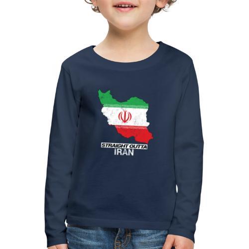 Straight Outta Iran country map & flag - Kids' Premium Longsleeve Shirt