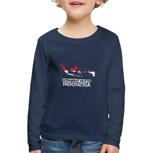 Straight Outta Indonesia country map & flag - Kids' Premium Longsleeve Shirt