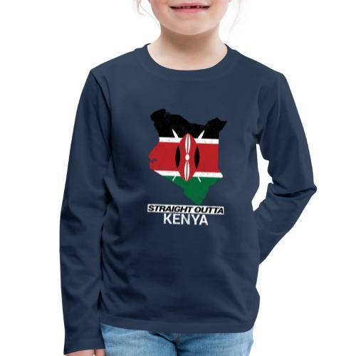 Straight Outta Kenya country map & flag - Kids' Premium Longsleeve Shirt