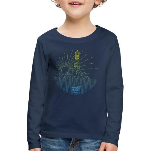 Leuchtturm mit Sonne am Meer - Kinder Premium Langarmshirt