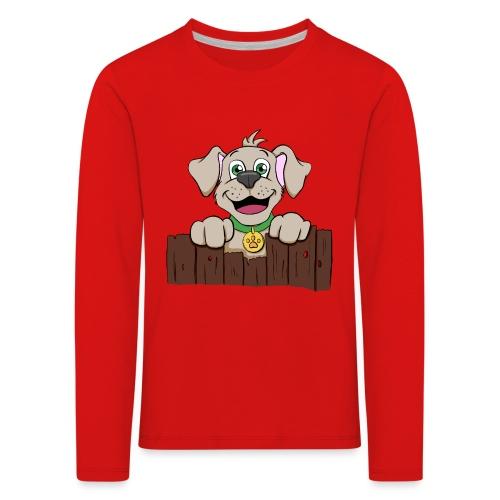 Kleiner Hund schaut über Zaun - Kinder Premium Langarmshirt