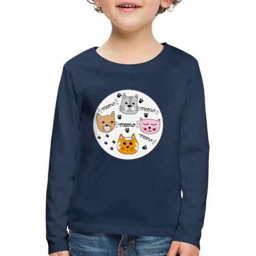 Miau Meow Katzen Cats - Kinder Premium Langarmshirt