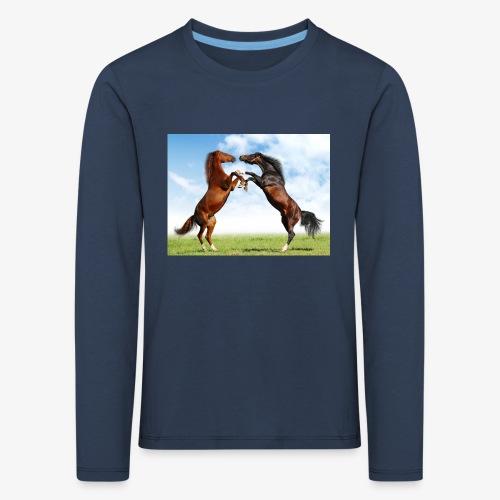 kaksi hevosta - Lasten premium pitkähihainen t-paita