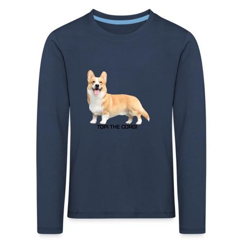 Topi the Corgi - Black text - Kids' Premium Longsleeve Shirt