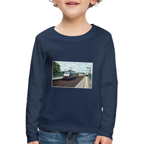 Goederentrein in Helmond Brandevoort. - Kinderen Premium shirt met lange mouwen