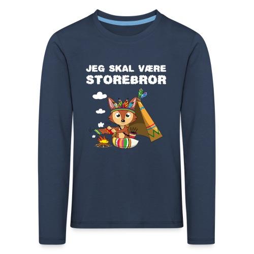 Jeg skal være storebror ræv indianere ræve gave - Børne premium T-shirt med lange ærmer