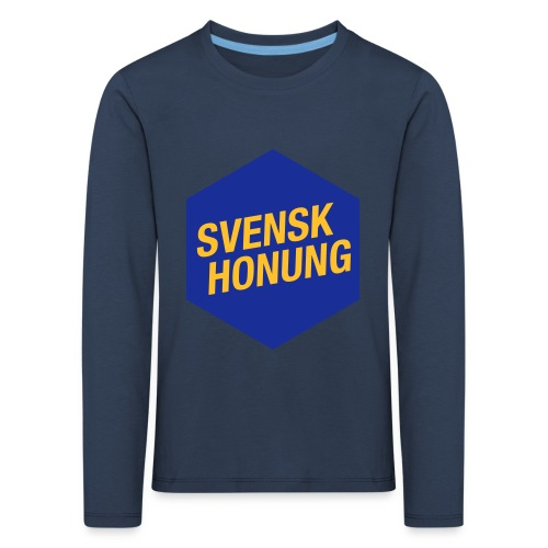 Svensk honung Hexagon Blå/Gul - Långärmad premium-T-shirt barn