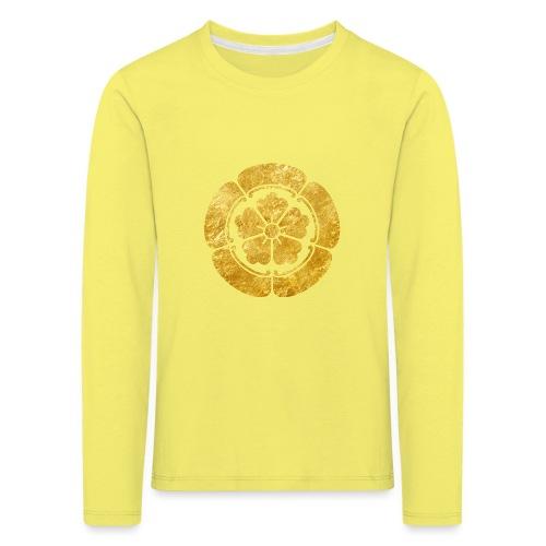 Oda Mon Japanese samurai clan faux gold on black - Kids' Premium Longsleeve Shirt