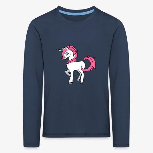 Süsses Einhorn mit rosa Mähne und Regenbogenhorn - Kinder Premium Langarmshirt