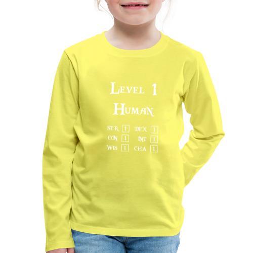 Level 1 Human - Wit - Kinderen Premium shirt met lange mouwen