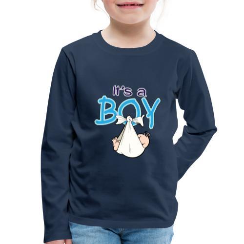 Babyshower Boy Blauw - Kinderen Premium shirt met lange mouwen