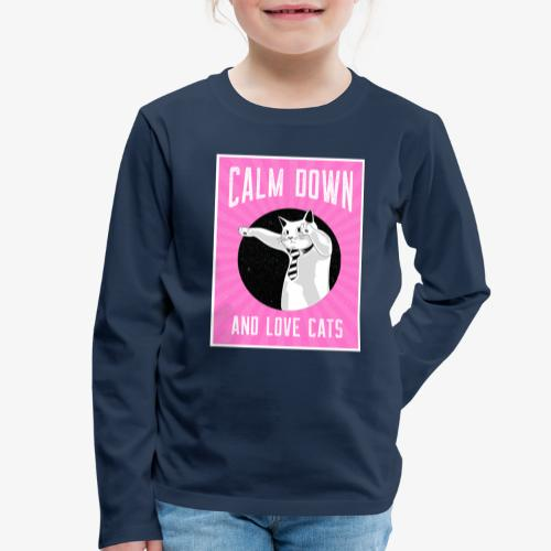 Calm Down Love Cats - Lasten premium pitkähihainen t-paita
