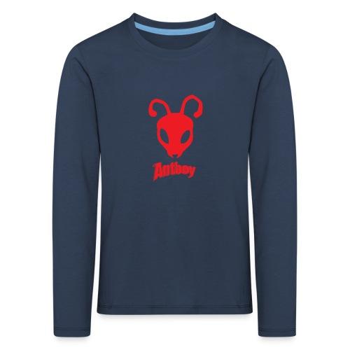 ANTBOY LOGO rød m tekst - Børne premium T-shirt med lange ærmer