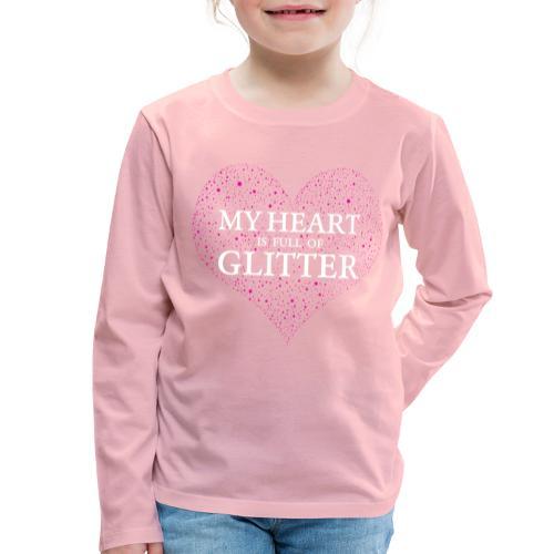 Herz Glitzer - Kinder Premium Langarmshirt