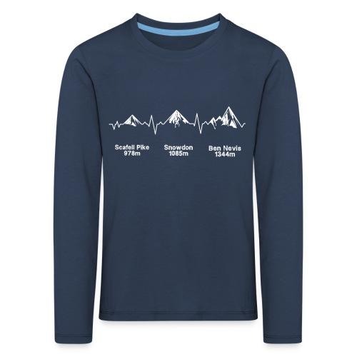 ECG Thee Peaks Dark Background - Kids' Premium Longsleeve Shirt