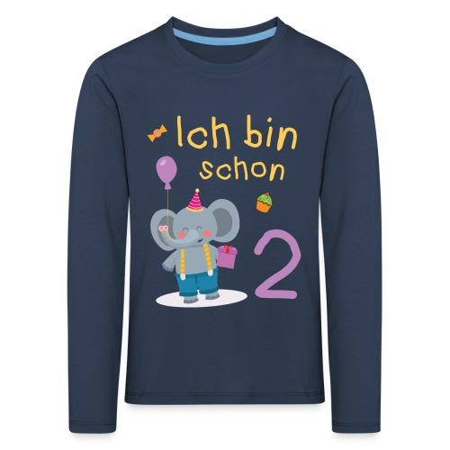 Ich bin schon 2 Elefant Geschenk Kindergeburtstag - Kinder Premium Langarmshirt