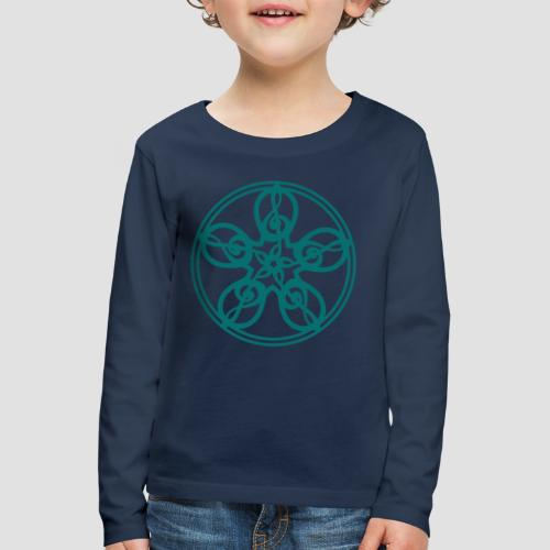 Treble Clef Mandala (teal) - Kids' Premium Longsleeve Shirt