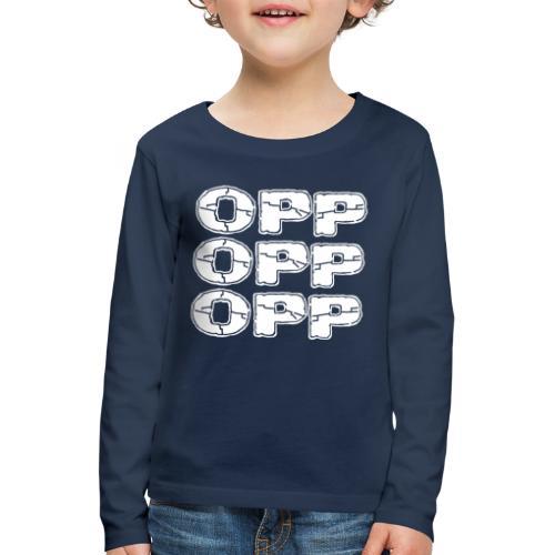 OPP Logo White - Lasten premium pitkähihainen t-paita