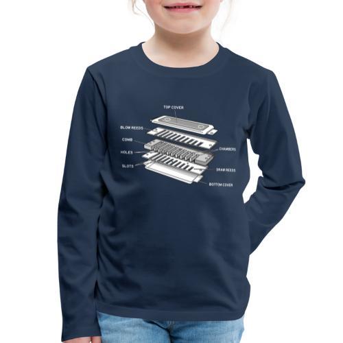 Exploded harmonica - white text - Kids' Premium Longsleeve Shirt