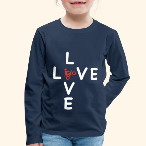 LOVE Cross white wheely red 001 - Kinder Premium Langarmshirt
