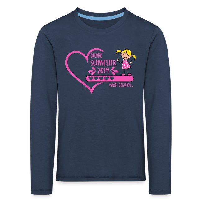 Große Schwester 2019 wird geladen Herz pink Kinder Premium