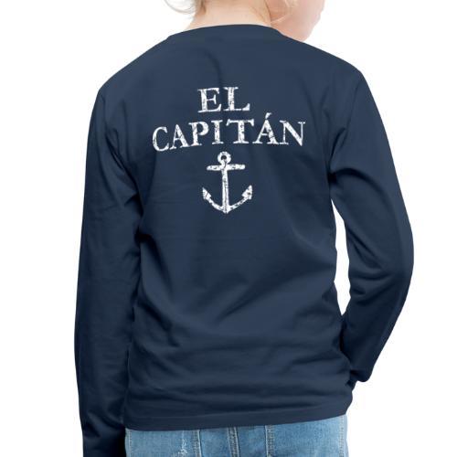 El Capitan Anker (Vintage Weiß) Käpt'n Segeln - Kinder Premium Langarmshirt