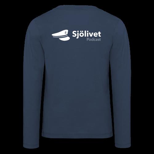 Sjölivet podcast - Vit logotyp - Långärmad premium-T-shirt barn