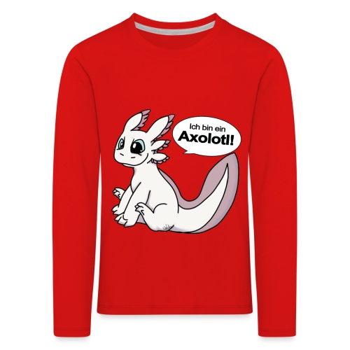 IchbinAxolotlweiß png - Kinder Premium Langarmshirt