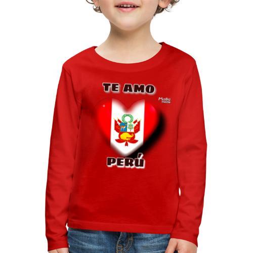 Te Amo Perú Corazón - Camiseta de manga larga premium niño