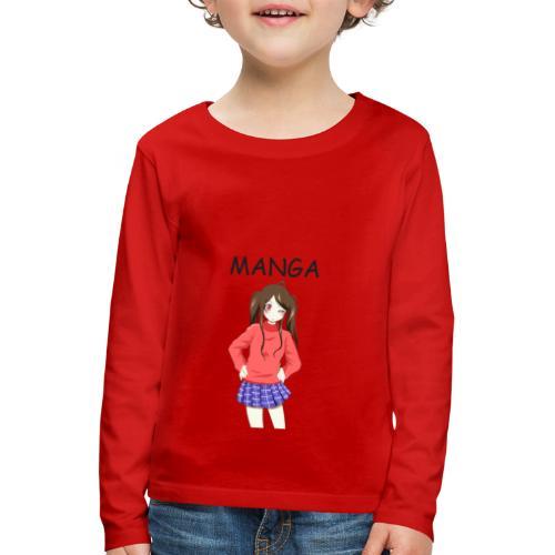 Anime girl 02 Text Manga - Kinder Premium Langarmshirt