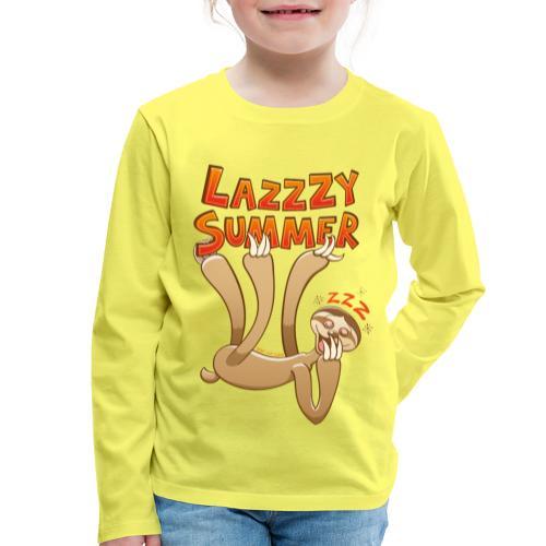 Sleepy sloth yawning and enjoying a lazy summer - Kids' Premium Longsleeve Shirt