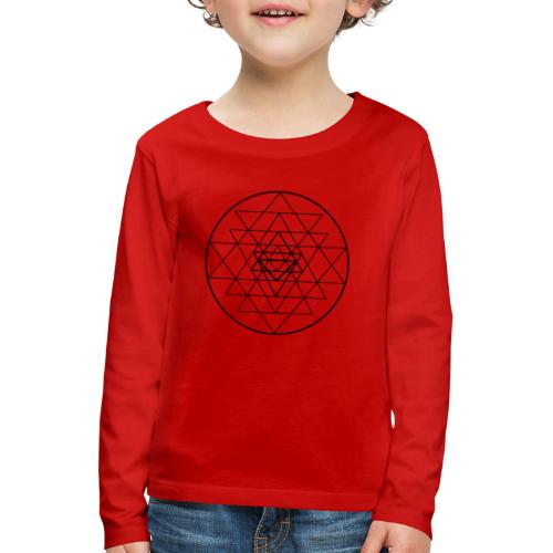 Sri Yantra - black and white - Børne premium T-shirt med lange ærmer