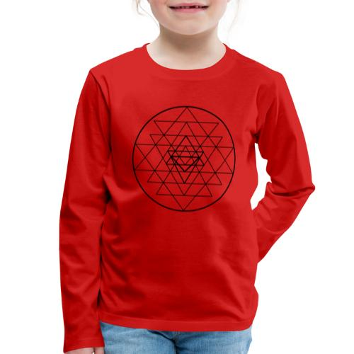 Sri Yantra - black and white - Børne premium T-shirt med lange ærmer