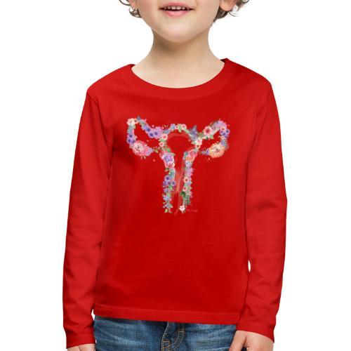Blumen Uterus - Kinder Premium Langarmshirt