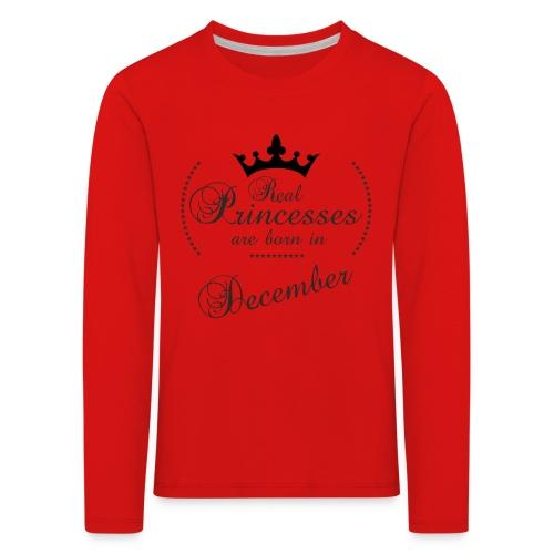 Real Princesses black December - Kinder Premium Langarmshirt