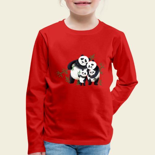 Pandafamilie zwei Kinder - Kinder Premium Langarmshirt