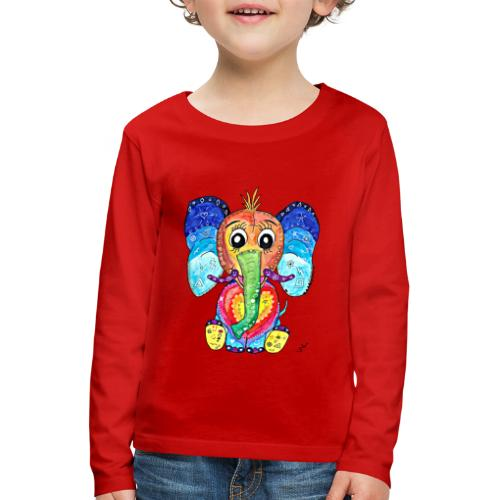 Happy Elephant - Kinder Premium Langarmshirt