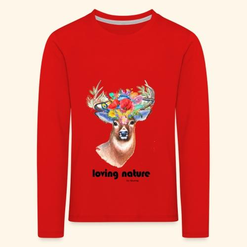 Ciervo con flores - Camiseta de manga larga premium niño