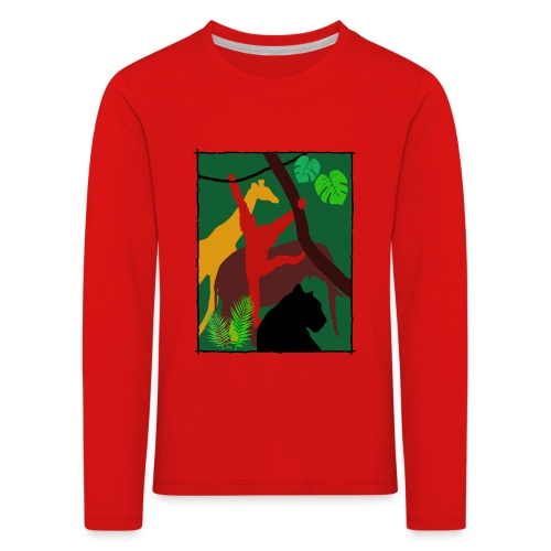 Dschungel - Panther-Affe-Elefant-Giraffe - Kinder Premium Langarmshirt