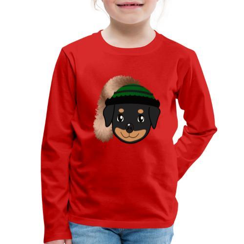 Baby-Rottweiler mit grüner Wadelkappe - Kinder Premium Langarmshirt