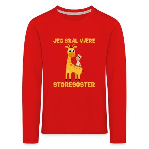 Jeg skal være storesøster - giraf giraffer - Børne premium T-shirt med lange ærmer