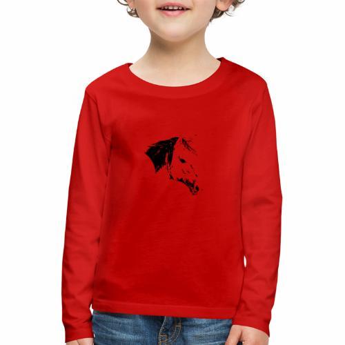 Pferd als schwarze Silhuette - Kinder Premium Langarmshirt