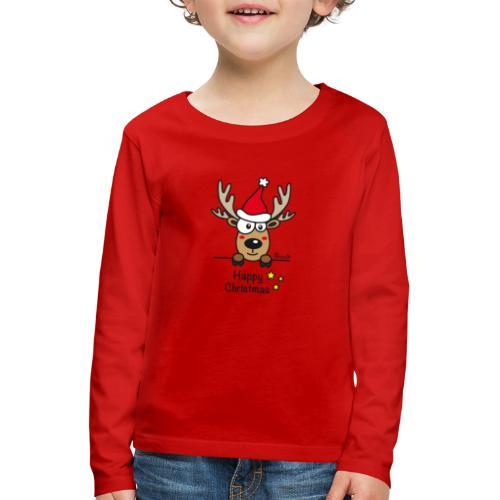 Renne Joyeux Noël - Happy Christmas, Humour, Drôle - T-shirt manches longues Premium Enfant