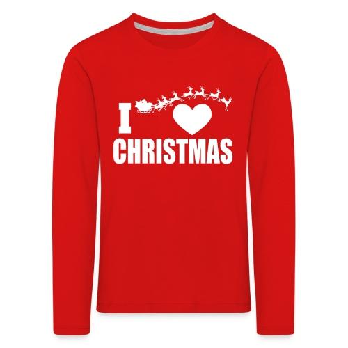 I Love Christmas Heart Natale - Maglietta Premium a manica lunga per bambini