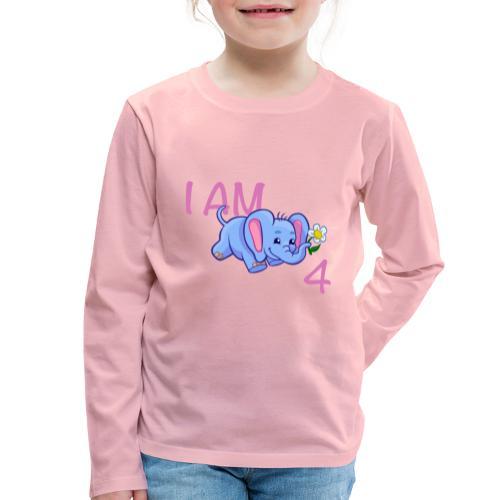 I am 4 - elephant pink - Kids' Premium Longsleeve Shirt